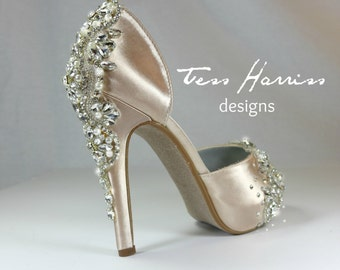 Sparkling Champagne Wedding Shoes .. Champagne Bridal Shoes . Blush Pink Wedding Shoes .. Champagne Pink Heels .   FREE Shipping in US .