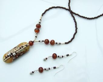 ARTIST BEAD SET - Brown & Beige 'Rock Pool' Pendant Necklace and Earrings