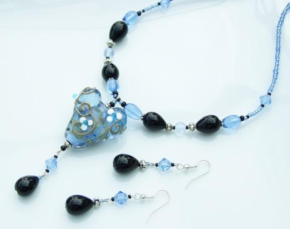ARTIST BEAD SET - Blue Lampwork Heart & Black Necklace and Earrings