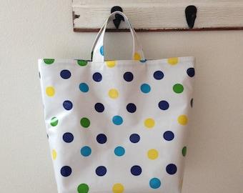Beth's Blue Tokyo Dot Oilcloth Grocery Market Tote Bag