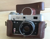 Vintage FED 3 Camera, Vintage USSR Camera with original leather case, 1970s , collectible, home decor, old cameras, photography