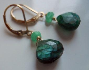 Green Labradorite Earring, Dangle, Drops, Rare Stones