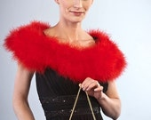 Promo Sale Red Marabou Wrap - Collar - Shrug