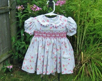 Shabby roses, smocked dress, baby girl, size 6 Mo, blue infant dress, shades of pink, baby shower, baby gift, ready to ship, OOAK, heirloom