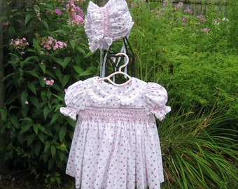 Baby girl, hand smocked, dress & bonnet, size 3 Mo. Lavender and pink flowers, OOAK, Ready to ship, baby shower, new baby gift, heirloom
