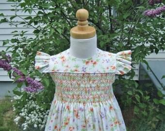 Toddler, smocked dress, angel sleeves, sundress, orange flowers, purple flowers, white floral dress, Size 2T, Ready to ship, Easter dress