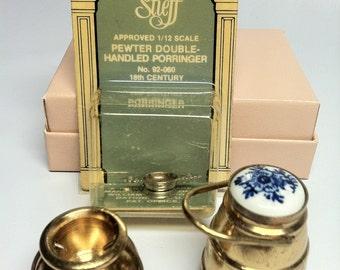 Dollhouse Miniature Vintage Kitchen accessories metal pots -- 1:12 scale