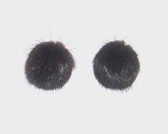 1950s earrings / 50s earrings / Black Fur Clip On Earrings
