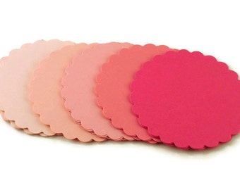 Three Inch Scalloped Circles Die Cut Paper Circles  3 inch Circles in  Pink Pop Set of 30