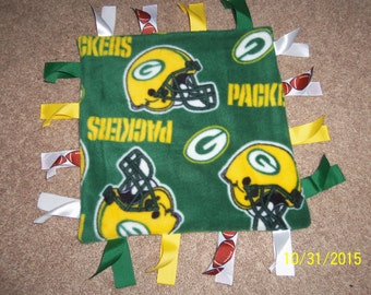 Homemade Green Bay Packers ribbon blanket