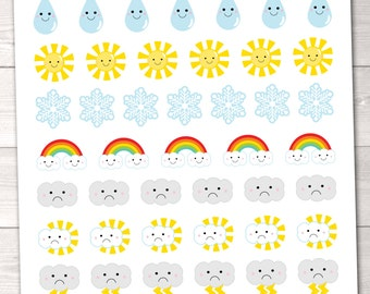 Weather Planner Stickers Instant Download DIY Sticker Set Pdf for Planners Calenders & Organization