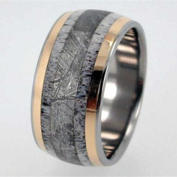 Deer Antler, Meteorite and 18K Yellow Gold inlay Titanium Wedding Band Meteor Ring