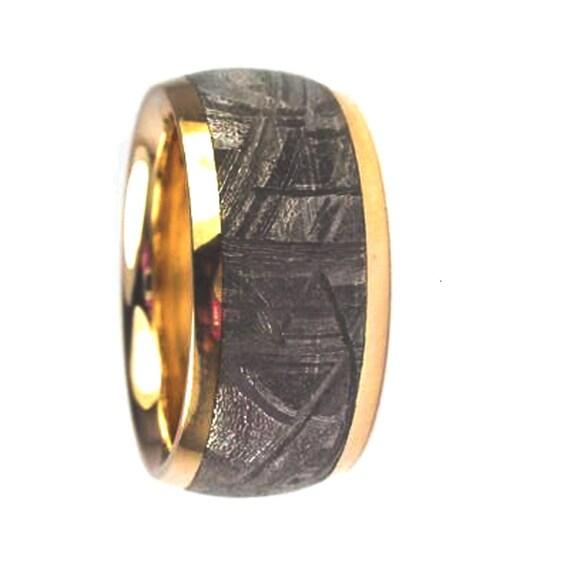 Unique Wedding Band, 14k Yellow Gold Ring, Meteorite Wedding Band