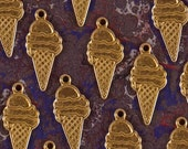 24 Brass Ice Cream Cone Charms
