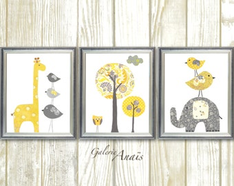 Yellow gray Nursery art baby nursery decor Kids wall art baby boy nursery wall art elephant nursery giraffe nursery bird Set of three prints