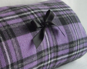 Purple and Grey Plaid And Solid Reversible Two Muffs In One Plaid Muff Handwarmer With Pocket Wristlet Handmade Ready To Ship To You