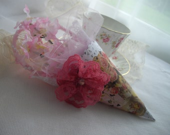 Sale Coupon Code Victorian Inspired Tussie Mussie Cone Bridal Shower Keepsake Tea Party Special Occasion Rose Lace Pearls Handmade  Gift Box