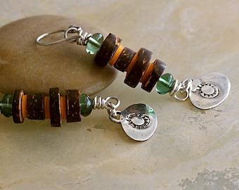 Beatnik Tribal Earrings Coconut Glass & Vinyl Beads Sterling Silver Charms . Rustic Style Jewley