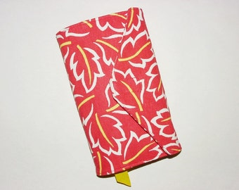 Paperback Book Cover Fabric Bookcover Sleeve Holder Book Bag Standard Size– Leaf Print Red White Yellow