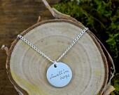 dwell in hope handwritten necklace
