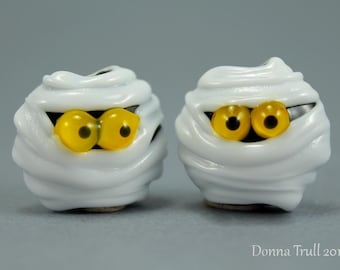 Handmade Lampwork Glass Halloween Beads, Pair of Mummies, Donna Trull, Holiday, Made to Order