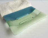 Fused Glass Soap Dish in Dusty Blue and Chalk Green