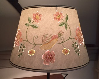 Made-To-Order Floral Bird Watercolored on White Cut and Pierced Drum Lamp Shade