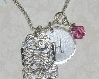 Scorpio Necklace - Scorpio Zodiac Hand Stamped Sterling Silver Initial Charm Necklace, Scorpio Jewelry, Zodiac Jewelry - Scorpio Star Sign
