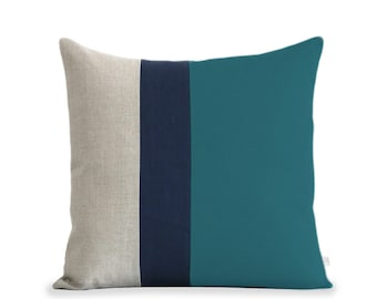 20x20 Colorblock Pillow Cover in Teal, Navy and Natural Linen by JillianReneDecor Modern Winter Home Decor - Striped Trio - Custom Colors