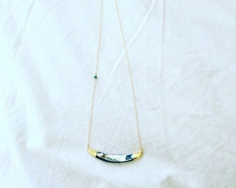 Gold Abalone Bar Necklace