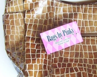 Vintage Caramel Leather Handbag / Bags By Pinky Bucket Bag / Plaid Moire Lined Reptile Print Leather, Made In USA, Gift Under 75, CLEARANCE