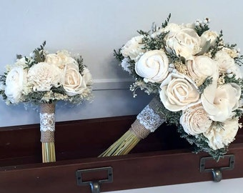 Ivory / White Wedding Bouquet - sola flowers - choose your colors - Custom - Alternative bridal bouquet - bridesmaids - rustic - natural