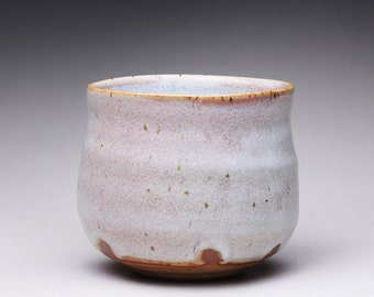 handmade ceramic tea bowl, pottery cup, chawan with chun celadon and white ash glazes