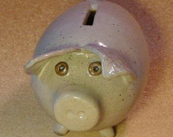 Handmade ceramic piggy bank, gray pottery pig bank