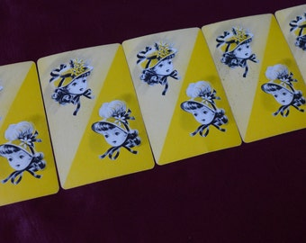Vintage Yellow Bonnet Girl Playing Cards