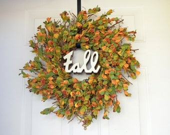 Wreath for Fall Fall artificial eucalyptus wreath Orange Yellow eucalyptus  Fall sign Home & Living Front door decor Fall wreath