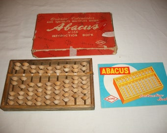 Vintage Wood Abacus with Box and Instructions by Acme from Japan