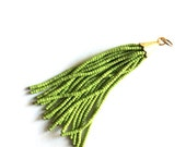 1 pc-Pistachio Green Afghan Tibetian Heishi Tube Beaded Tassel with gold plated caps-100 mm+(026-030GP)
