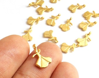 5 pcs Matte 22K Gold Plated Base Whirling Dervish Sufi Charm, Drop- SUFI 14x9mm-(003-039GP)