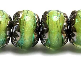 NEW! Six Spring Green Shimmer  Rondelle Beads 10507721 - Handmade Glass Lampwork Bead Set