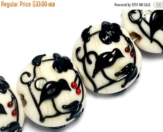 ON SALE 50% OFF Glass Lampwork Bead Sets - Four Tranquility Vines Opaque Lentil Beads 10204912