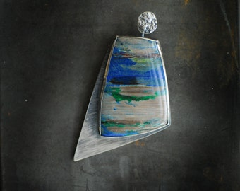 Petrified Wood Jewelry, Colla Wood, Scenic Beach Picture Stone Gemstone, Blue Wearable Art Necklace, 5th Anniversary Gift, Full Moon Jewelry