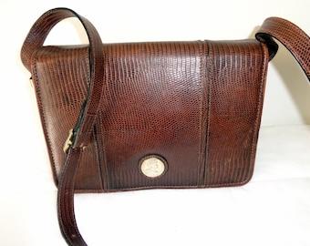 Polished lizard messenger/cross body /shoulder bag purse exotic leather, full flap top purse vintage 70s