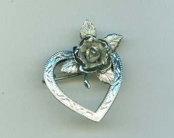 Vintage Rose Heart Brooch/ Pin