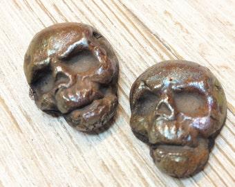 Two Midnight Copper  Raku Skeleton Skull Beads