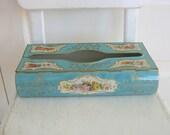 Vintage Tissue Box Holder Metal Aqua Blue Flowers Cottage Shabby Chic Tin