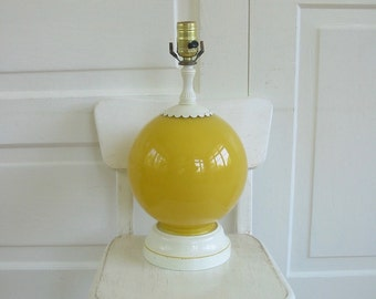 Vintage Yellow Lamp, Glass Lamp, Vintage Metal Lamp, Yellow Shabby Cottage Chic, Yellow White Nursery Lamp