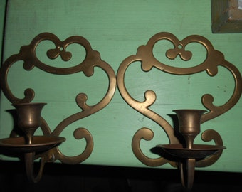 Vintage set of 2 brass candle holders wall hangings