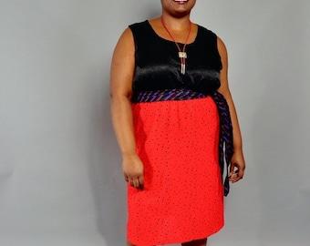 JULY SALE Plus Size Skirt // Vintage Red & Black Polka Dot Pencil Skirt // XXL