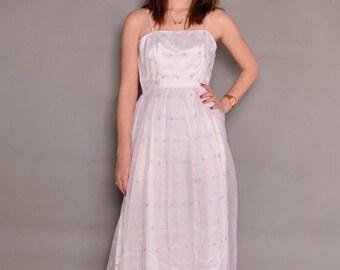 JULY SALE Vintage 70's Sheer Eyelet Dress // sz S // White & Lavender Party Dress // Sweet Spaghetti Strap Sundress